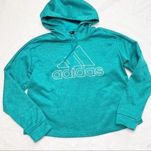 ADIDAS Turquoise Climawarm 3-Stripe Cropped Hoodie